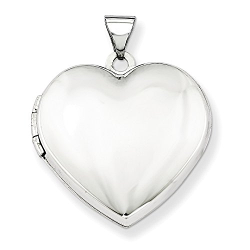 ICE CARATS 14k White Gold 21mm Heart Plain Domed Family Photo Pendant Charm Locket Chain Necklace That Holds Pictures Fine Jewelry Ideal Mothers Day Gifts For Mom Women Gift Set From Heart by ICE CARATS