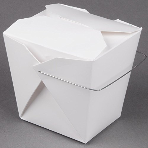 Fold-Pak 32WHWHITEM 32 oz. White Chinese / Asian Paper Take-Out Container with Wire Handle - 500/Case by TableTop King