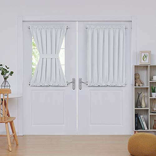 Deconovo Room Darkening Rod Pocket Blackout Door Curtain Panels with Tie Back 54x40 Inch 2 Panels Off White (Tie Back Panel Door)