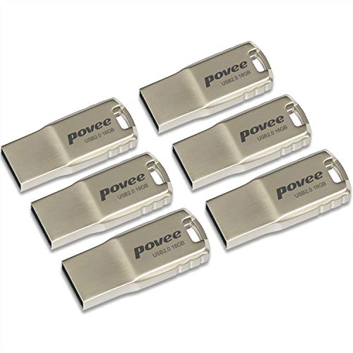 - 16GB USB 2.0 Flash Drive-6 Pack MLC Flash Metal USB2.0 Speed Thumb Pen Drive Disk Memory Stick