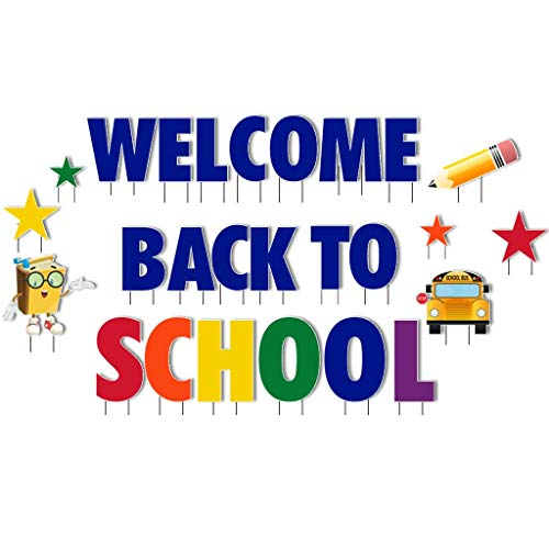 VictoryStore Yard Decorations Welcome Back to School Giant Yard Letters 26pcs Includes Stakes
