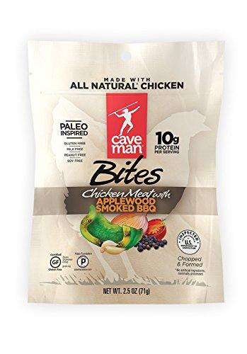 Caveman Foods Paleo Chicken Jerky Bites, Protein Snacks, Applewood Smoked BBQ, 2.5 oz Gluten-Free