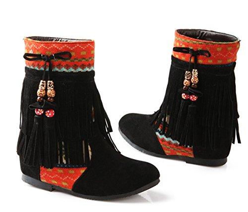 YE Damen Wedges Keilabsatz Wildleder Schlupf Stiefeletten mit Fransen Blumen 4cm Absatz Designer Short Ankle Boots Herbst Winter Schuhe Schwarz