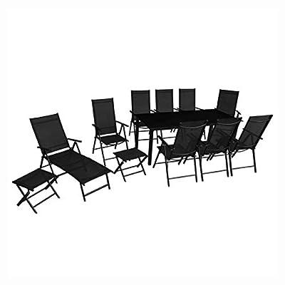HomyDelight Outdoor Furniture Set, 12 Piece Outdoor Dining Set Aluminium Black