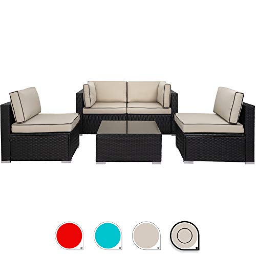 Walsunny 5pcs Patio Outdoor Furniture Sets,Low Back All-Weather Rattan Sectional Sofa with Tea Table&Washable Couch Cushions (Black Rattan) (Khaki/Black) (Synthetic Rattan Furniture Garden)