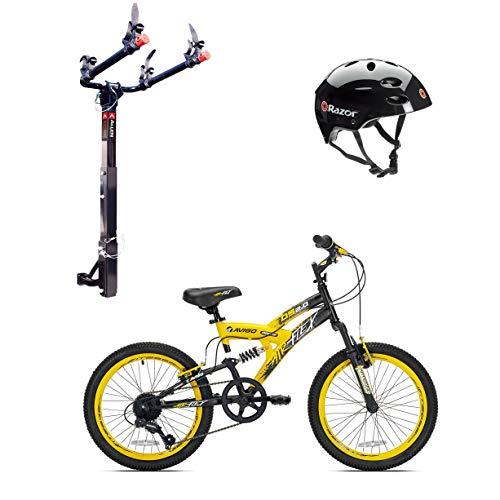 (Kent Bikes Avigo Air Flex Steel 20 Inch Boys BMX Bike & 2 Bike Car Rack & Helmet)