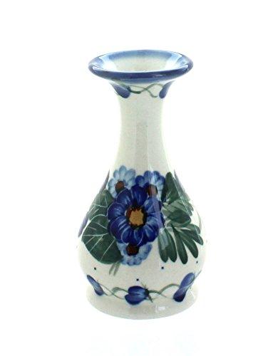 WR Unikat Blue Rose Polish Pottery Forget Me Not Bud - Hand Vase Bud Painted