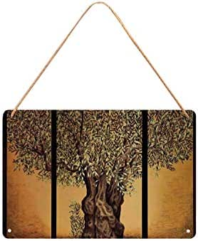 TecBillion Tree of Life Utility Metal Tin Sign,Triptych of an Old Mature Olive Tree Mediterranean Greece Style Nature Graphic Decor for Home,12