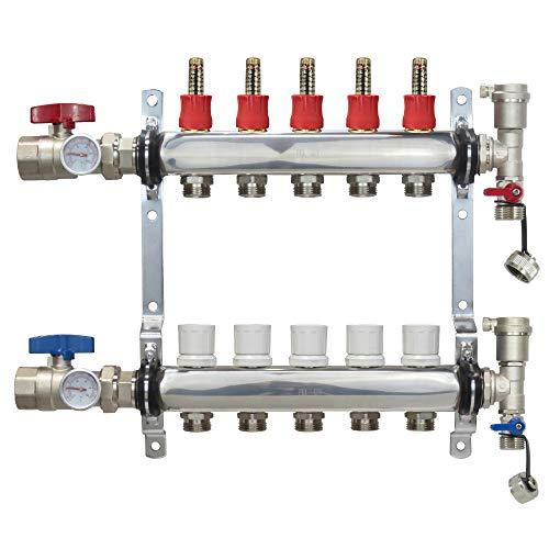 "5 Loop Stainless Steel Premium PEX Manifold With 1/2"" Connectors for Radiant Heating - PEX GUY (5 Loops)"