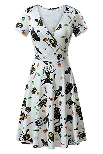 MSBASIC Halloween Skater Dress, Scary Dress V Neck Flared Party Dress (White, X-Large) -