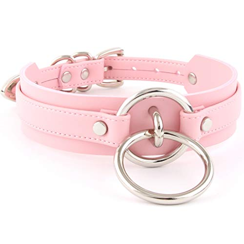 Handmade Womens Double O Ring Faux Leather Choker Collar (Pink with Silver Alloy)