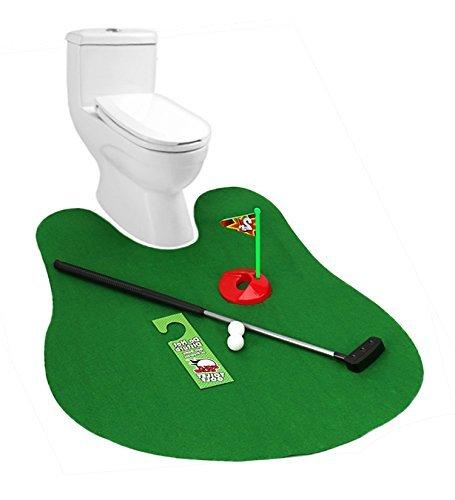 Toilet Golf, Rainbrace Potty Putter Putting Mat Golf Game Golf Toys for Bathroom Indoor Training