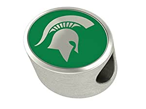 Michigan State Spartans Bead Fits Most European Style Beaded Charm Bracelets
