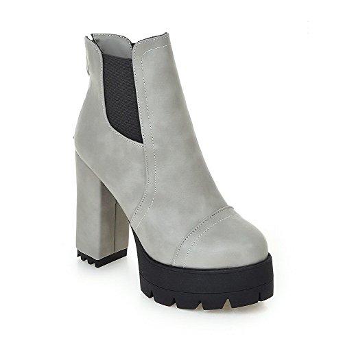 AgooLar Damen Reißverschluss Hoher Absatz PU Niedrig-Spitze Stiefel, Cremefarben, 38