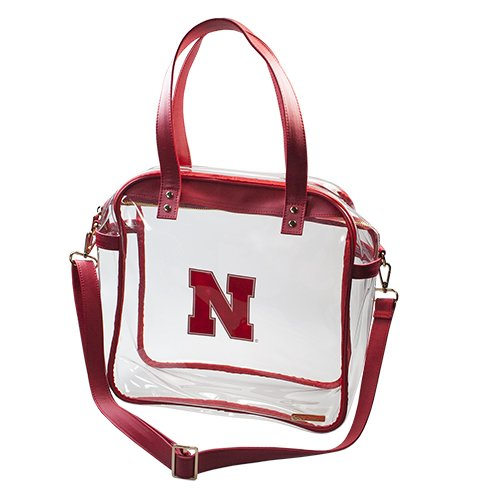 University of Nebraska Huskers Capri Designs Clearly Fashion Licensed Clear Carry All Tote Meets Stadium Requirements by CLEARLY FASHION