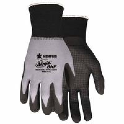 Fingertip Spandex Gloves - Memphis Gloves Medium Ninja BNF 18 Gauge Black Breathable Nitrile Foam Palm And Fingertip Coated Work Gloves With Red Seamless Knit Nylon And Spandex Liner