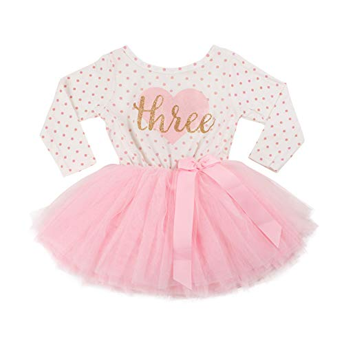 Grace & Lucille Toddler Birthday Dress (3rd Birthday) (Pink Polka Dot Long Sleeve, Flat Heart Gold, -