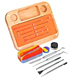 Rosineer Bamboo Wax Tool Organizer with Stainless