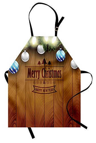 Ambesonne Christmas Apron, Wooden Setting with Grey Balls Fairy Tale Setting and Pine Tree Twigs Wishes Theme, Unisex Kitchen Bib Apron with Adjustable Neck for Cooking Baking Gardening, Brown]()