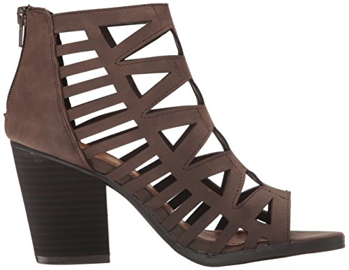 Strappy Peep Women's Toe Heel Dark Bootie Block Sugar Vacation Stacked Brown Smooth wSEqCn