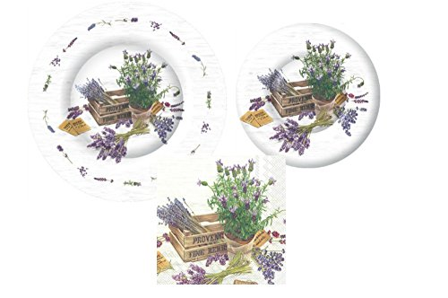 Lavender Garden Themed Party Supply Pack! Bundle Includes Paper Plates & Napkins for 8 Guests in a The Flavour of Provence Design