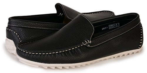 [2631-black-9] Men's Slip-On Driving Shoes: Casual Loafers Comfort Boat Shoe
