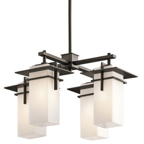 49638OZ Caterham 4LT Indoor/Outdoor Chandelier, Olde Bronze Finish with Satin Etched Cased Opal Glass by Kichler Lighting
