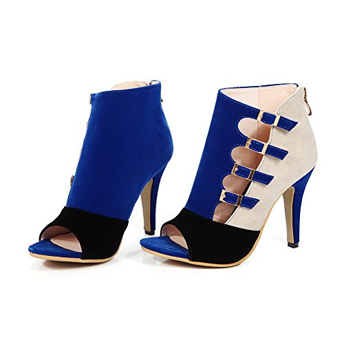 Allhqfashion Donna Zipper Open Toe Stivaletti A Punta Imitato Sandali Solidi Scamosciati Darkblue