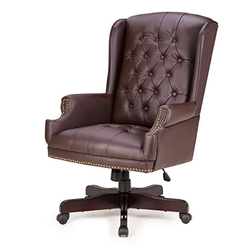 Chesterfield Tufted Upholstery Chair Wingback Button Classic Design Faux Leather 360 Degrees Swivel Wheeland Executive Office High Backrest Support Your Back Business Boss Manager Home Company 300lbs