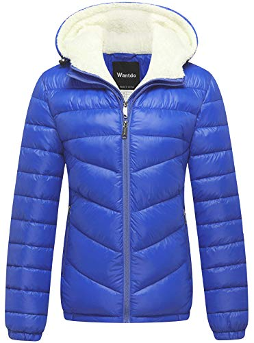 - Wantdo Women's Winter Coats Hooded Windproof Puffer Jacket Sapphire Blue Large