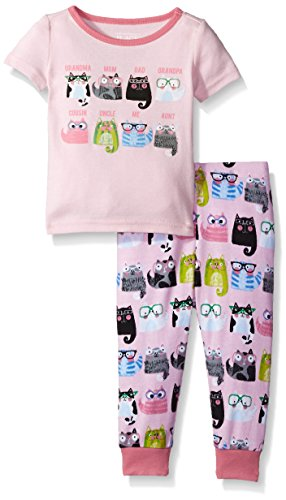 The Children's Place Baby Girls' Sweet Li'l Short Sleeve and Pant Pajama Set, Whisperpnk,