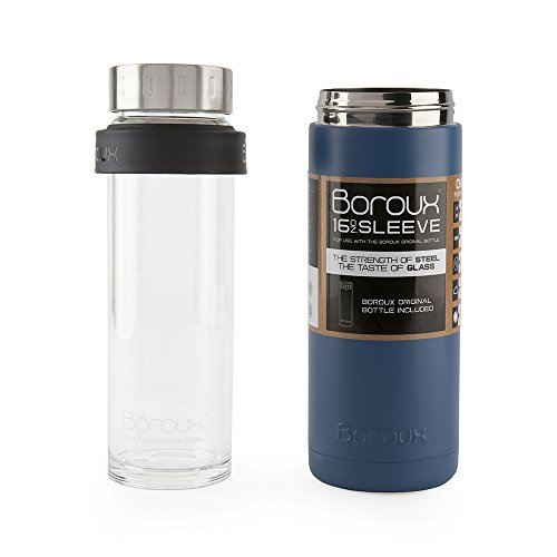 Boroux SLEEVE-Insulated Thermos Water Bottle .5 LITER. Handmade Pure Borosilicate Glass Water Bottle with DOUBLE WALLED STAINLESS STEEL VACUUM SEALED PROTECTION. No Slip Grip Technology-Blue -