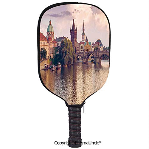 SCOXIXI 3D Pickleball Paddle Racket Cover Case,Pastoral View at Charles Bridge Spires of Prague Central Europe Gothic Buildings ImageCustomized Racket Cover with Multi-Colored,Sports Accessories