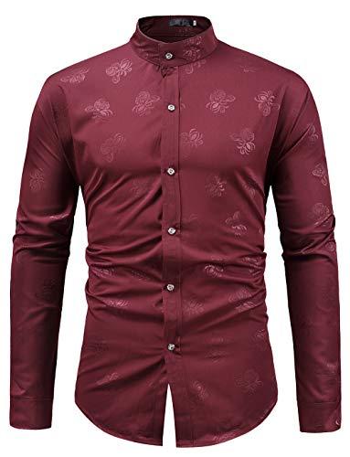 HOP Fashion Mens Long Sleeve Mandarin Collar Shirts Casual Paisley Print Slim Fit Button Down Dress Shirt HOPM309-Wine-XL