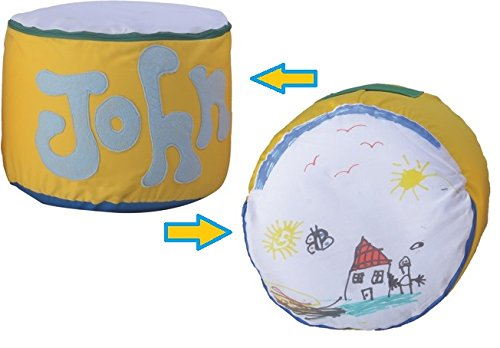 Bedesign Studio ArtPoufie - Craft My First personalize pouf Kit (Yellow/Blue with Green) APER