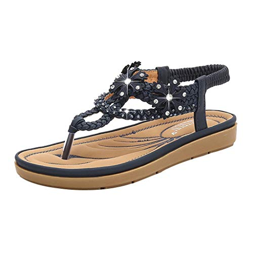 Aunimeifly Women's Soft Comfty Bottom Bohemian Sandals Rhinestone Flats Clip-Toe Weaving Elastic Band Shoes Blue ()