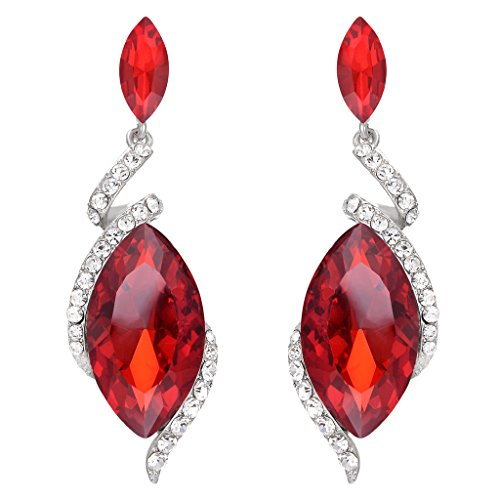 BriLove Women's Wedding Bridal Crystal Marquise Swirl Filigree Wire Dangle Earrings Ruby Color Silver-Tone -