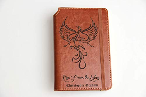 (Personalized Phoenix Journal with Custom text or custom quote engraved Journal leather bound, strip with the same color to keep it closed, Rise from the ashes.)