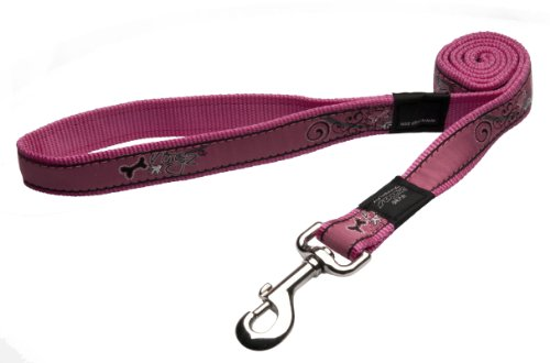 Rogz Fancy Dress Extra Large 1-Inch Armed Response 6-ft Long Fixed Dog Lead, Pink Bone Design, My Pet Supplies