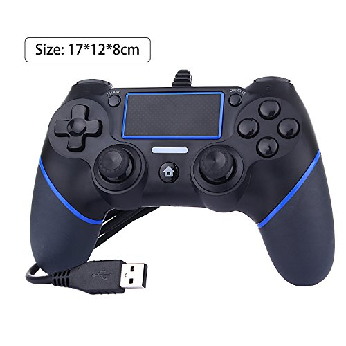 Buwico USB Wired Game Controller For Sony PlayStation 4 Joystick Gamepad Controller (Black+blue)