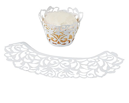 Laser Cut White Cupcake Wrappers Paper