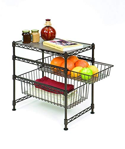 Seville Classics Stackable 3-Tier Sliding Double Basket Cabinet Organizer with Bonus Liners, 11.5