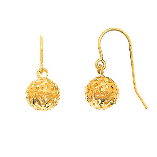 Round Kidney Wire Earrings (JewelStop 14K Solid Yellow Gold Mesh Ball Round Drop Dangle Kidney Wire Earrings -)