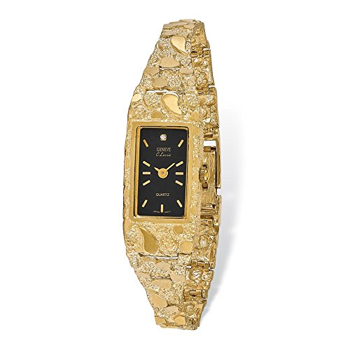 Roy Rose Jewelry 14K Yellow Ladies Rectangular Black 15x31mm Dial Solid Nugget Watch (Pocket 14k Watch Yellow)