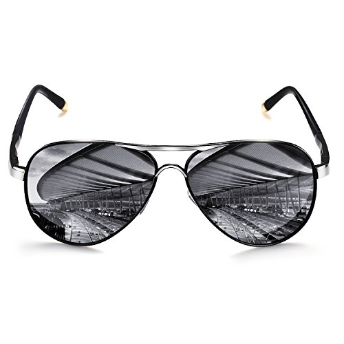 ROCKNIGHT Polarized Aviator Sunglasses for Men Women Metal Frame Flat Top Sunglasses Ultralight Silver Mirror Lens UV400 Outdoors ()