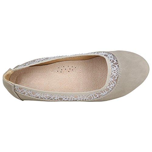 ... Damen Ballerinas Schuhe Halbschuh flache Schuhe Slipper Flandell Grau  Spitze 0a782c4e7b