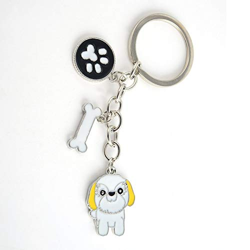 Cute Dog Key Chain Key Ring Pom Gift Women Girl Bag Pendant Charm Fashion (Shih Tzu)
