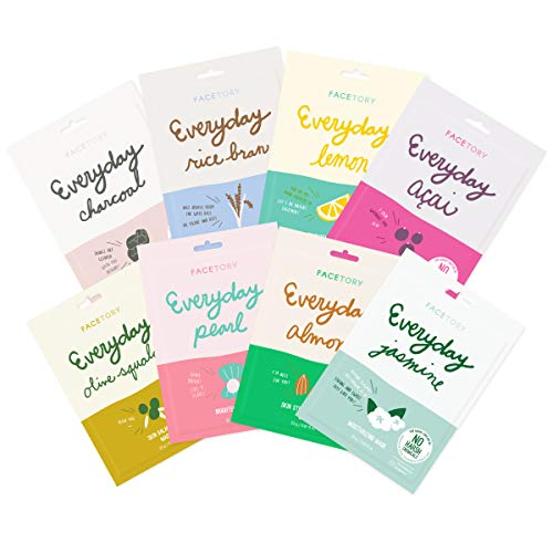Everyday Set of 8 Sheet Masks - Revitalizing, Purifying, Brightening, Hydrating, Anti-aging With No Harsh Chemicals