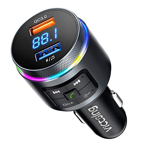 VicTsing Bluetooth FM Transmitter for Car, Auto-tune Car Bluetooth Adapter, QC3.0 & 2 Microphones Radio Adapter Car Kits w RGB, Knob Button for Volume