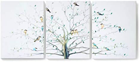 YJYArt Birds on Tree Large Framed Wall Art 16 x24 x3 Panels Contemporary Minimalist Canvas Prints Wall Decor Paintings Art Work for Living Room Home Office